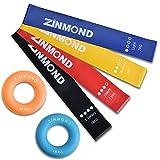 Zinmond フィットネスチューブ トレーニングチューブ エクササイズバンド ループバンド 強度別4本セット