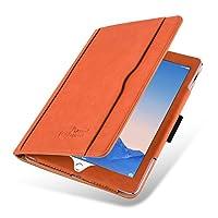 iPad 9.7 2018/2017、iPad AirおよびiPad Air 2用のJAMMYLIZARDスマートケース| Jtogo.jpオリジナルオレンジ&タンレザーウォレットフォリオフリップカバー、ペンシルホルダー&スタイラス付き