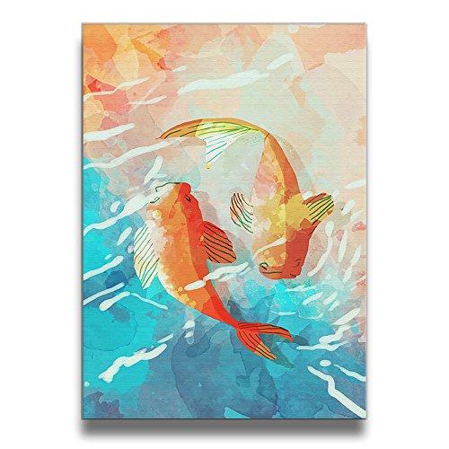 金魚 油絵 壁飾り 壁掛け絵 塗り絵 キャンバス絵画 インテ...