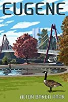 Eugene、オレゴン州–都市景観 9 x 12 Art Print LANT-54735-9x12