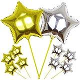 [AQ-Terre] アルミバルーン 風船 スティック セット ウエディング 誕生日 パーテイ プチギフト プレゼント (10 本セット, 12. 星 ( 金 × 銀 ))