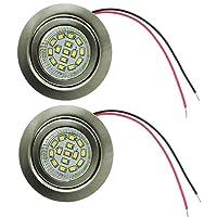 eledison 2- Pack Recessed dc 12V RV LED天井ライト2W 60mm穴EmbededキャビネットライトPuck電球器具車RVトレーラーキャンパーボートヨット照明 LDS-FDB-D70-2W-US6000K