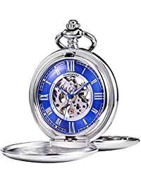 TREEWETO 機械式 懐中時計 アンティーク ブルーダイヤル スケルトン ローマ数字 シルバー ダブルハンター チェーン蓋付き