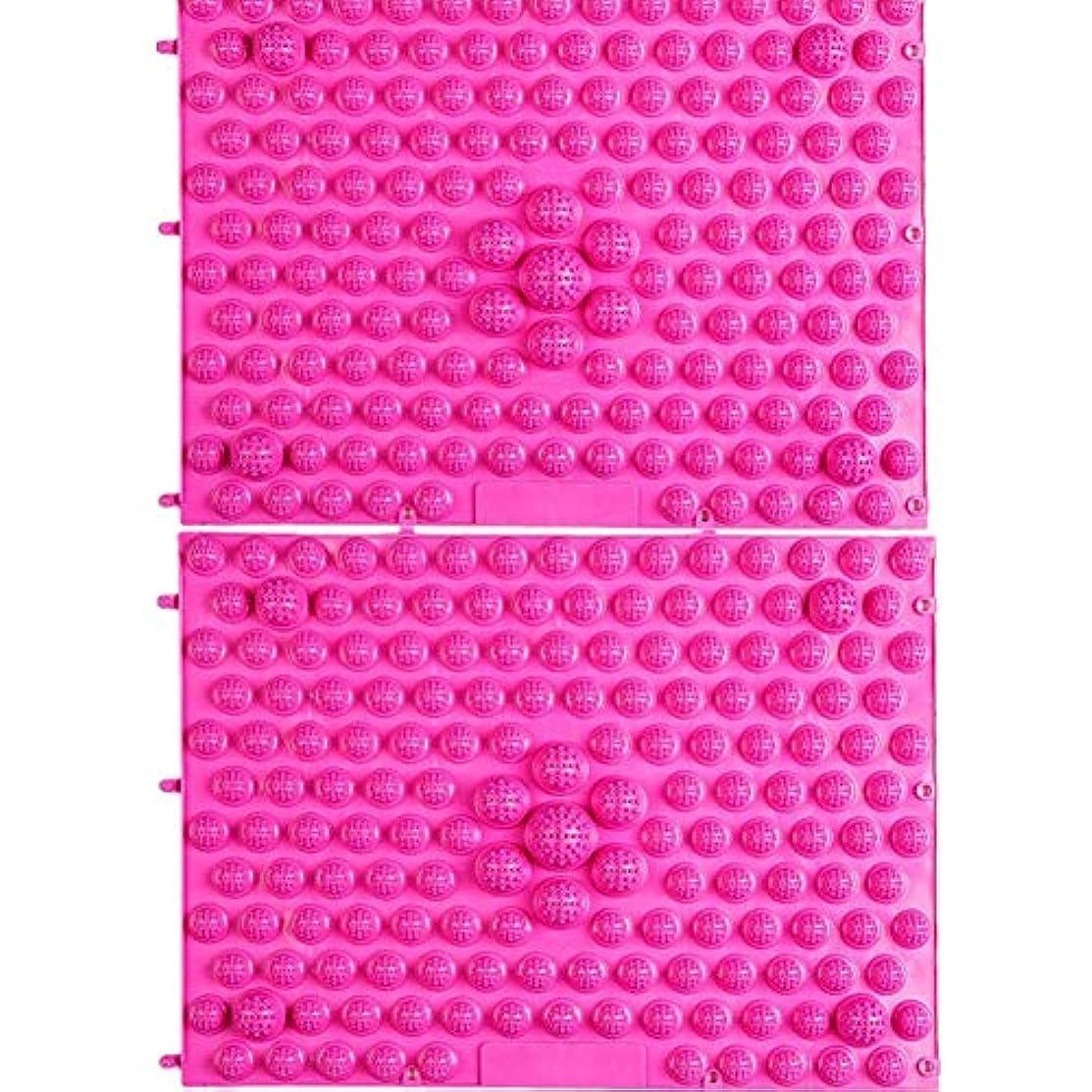 液体圧縮組立wompolle マッサージ?ツボ押しグッズ 生活に刺激と健康を!足つぼキャニオンマット マッサージ屋さんの健康マット ドラゴンマット 足踏み 足ツボ 2枚組 (Pink)