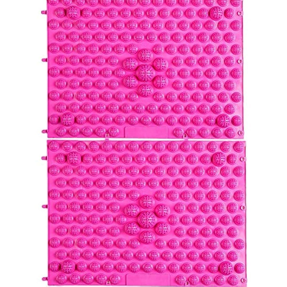 強制家畜応答wompolle マッサージ?ツボ押しグッズ 生活に刺激と健康を!足つぼキャニオンマット マッサージ屋さんの健康マット ドラゴンマット 足踏み 足ツボ 2枚組 (Pink)