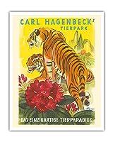 カール・ハーゲンベック 動物園 - ユニークな動物の楽園 - ハンブルク、ドイツ - ビンテージ旅行ポスター によって作成された E. アイグナー c.1952 - アートポスター - 41cm x 51cm