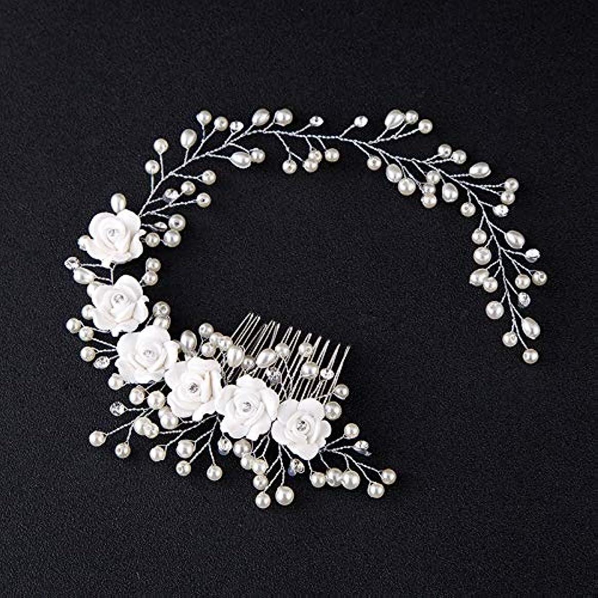 ログロマンススチュワーデスHairpinheair YHM女性の髪の櫛の花嫁の結婚式のヘアクリップ手作りの花のビーズの装飾レディースヘアアクセサリー