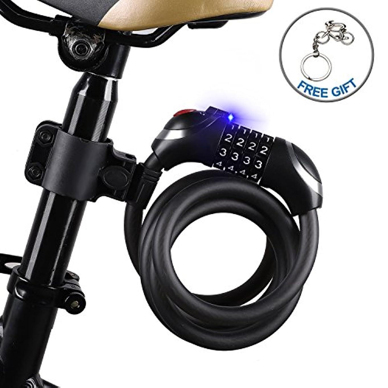 誰も人生を作る振るうicocopro自転車ケーブルロックLEDライト付き簡単使用で夜、バイクロック基本セルフ巻き可能組み合わせケーブルバイクロックwithマウントブラケット