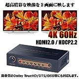 ELEVIEW 4K60Hz HDR対応 HDMI分配器 1入力2出力 2画面同時出力|異なる解像度出力可能 ダウンスケール機能 オーディオEDIDセッティング HDCP2.2 HDMI2.0 スプリッター PS4pro/Xbox One/Fire tvなどに適用 ACアダプタ付き EHD-603N 画像