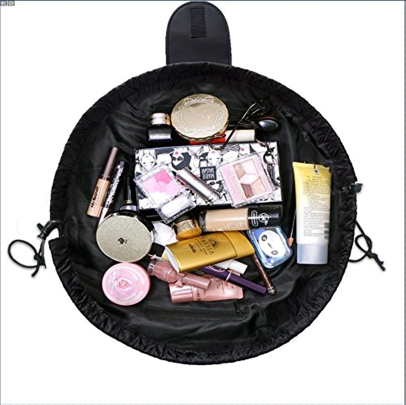 想像する配分圧縮旅行化粧バッグ ファッションお手軽カジュアル巾着旅行防水大容量の化粧バック (ブラック)
