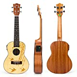 kmise コンサートウクレレ 23インチウクレレ レーザでトップ図案あり EQ付け ハワイアンギター (春模様)