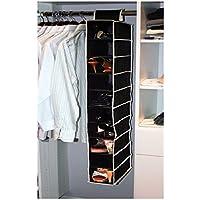 Kennedy Home Collection 5178 10 Shelf Hanging Shoe/Purse Organiser, Black/Cream
