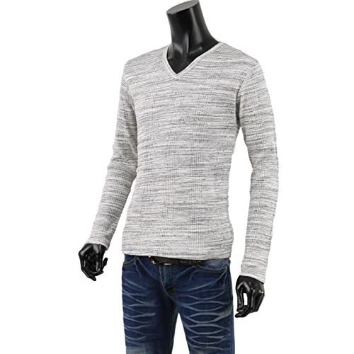 Tシャツ メンズ vネック 無地 長袖 トップス リブ テレコシャツ 650602 グレー杢 LL