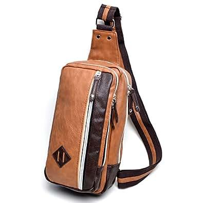 (Marib select) ボディバッグ 斜めがけバッグ マチが広くて定番フォルム カラーライン入り ワンショルダー メンズ 鞄 カバン #c029 (キャメル)