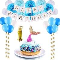 CCINEE 【25点セット】華やか 1歳 誕生日飾り バースデーデコレーションセット 誕生日バルーン 装飾 ペーパーフラワー バースデーパーティー 記念撮影に ブルー