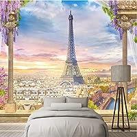 Wuyyii ヨーロッパスタイルの壁紙3D花ツリー壁壁画自然風景写真エッフェル塔壁ペーパー用リビングルーム家の装飾-280X200Cm
