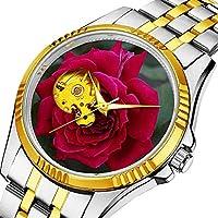 時計、機械式時計 メンズウォッチクラシックスタイルのメカニカルウォッチスケルトンステンレススチールタイムレスデザインメカニ (ゴールド)-414. 深い赤は庭に咲く花をバラ