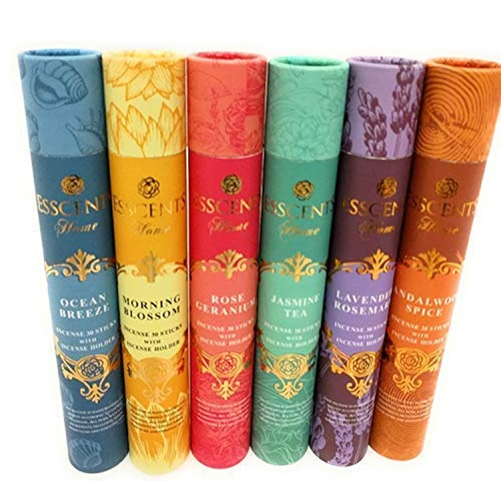 討論符号挽くEssence incense gift pack 180 sticks with incense holder 6 flavours, Ocean,Morning Blosom,Jasmine tea,Rose Geranium...