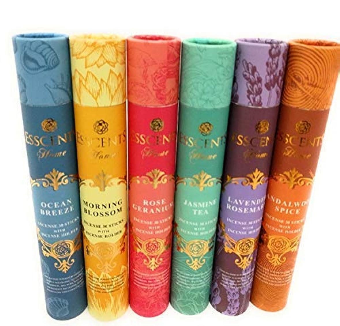 動く贅沢なだめるEssence incense gift pack 180 sticks with incense holder 6 flavours, Ocean,Morning Blosom,Jasmine tea,Rose Geranium...