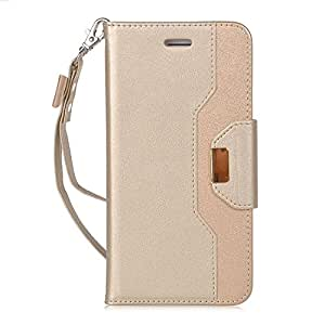 iPhone7 plus ケース,【ELTD】 iPhone7 plus カバー iPhone 7 plus 上質ケース+財布一体型 プレミアムレザー 化粧鏡 ミラー 付き ちょう結び 可愛い手帳型ケース 財布/カードスロット&スタンド機能 ストラップ付き 横置き 携帯電話に全面保護型ケース(ゴールド)