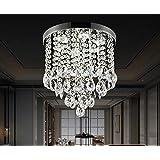 "Crystal Ceiling Light LED 3 Brightness Crystal Chandelier Chandelier Ceiling Light Suitable for Staircase Corridor Living Room Lamp with LED Bulb (D-11.8"" x H-11.4""(D-30cm x H-29cm))"