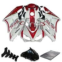 9FastMoto honda ホンダ 2004 2005 CBR1000 RR 04 05 CBR1000RR 用フェアリング オートバイフェアリングキット ABS 射出成形セット スポーツバイク カウル パネル (ホワイト & レッド) H0770