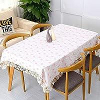 CIHSEWETA 四角形のテーブル、コットン リネン レースのテーブル クロスを汚れ抵抗力があるテーブル クロス