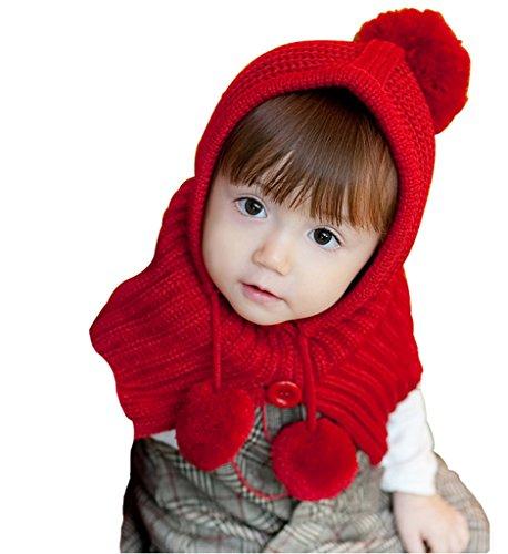 (よキーよ)Yokeeyo ニット帽子&マフラーのセット 耳&肩まであたたか 毛糸 可愛い耳付き帽子 ケープ ベビー キッズ 赤ちゃん ふわふわ 男の子 女の子 キュート 防寒 スタイリッシュ ボンボン付き 男女児 秋冬 防寒