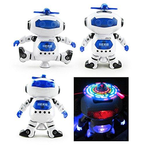 HBKJ 二足歩行ロボット,ライトニング 360度回転灯音楽赤外線 子供のための最高のおもちゃ