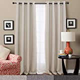 Linen Textured Eyelet Curtains for Bedroom Thermal Insulated Window Panels Room Darkening Curtains Blackout Living Room 2 Curtain Panels, 160CM Beige