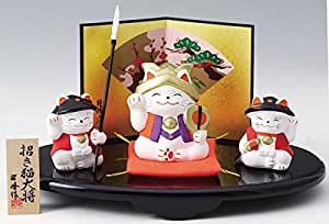五月人形 コンパクト 陶器 小さい 大将 武将/招き猫 招き猫大将(供揃) /こどもの日 端午の節句 初夏 お祝い 贈り物 プレゼント