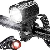 自転車 ライト、1200ルーメン 明るい フロントライトセット ロードバイク IPX6 防水 4400mah USB充電式 電池 - 通勤/サイハイキング/ハイキング/釣りに適