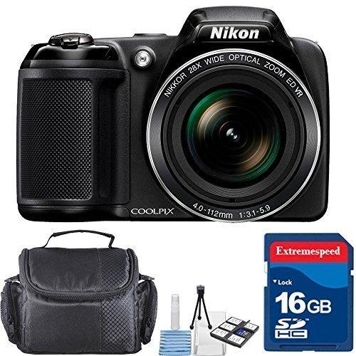 Nikon Coolpix L340 20.2 Mp Digital Camera - Black + 16GB High Speed Memory Card + Case + Cleaning Kit by CellTimeBundle [並行輸入品] -