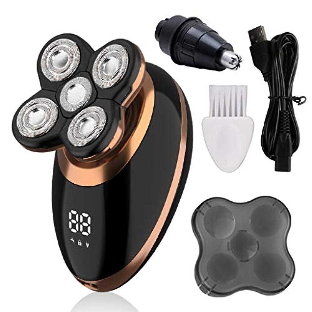 一生基準フェードアウトYHSUNN 多機能4-in-1インテリジェントデジタルディスプレイ男性シェービングヘッドマシン5-ヘッド電気シェーバー充電式かみそり