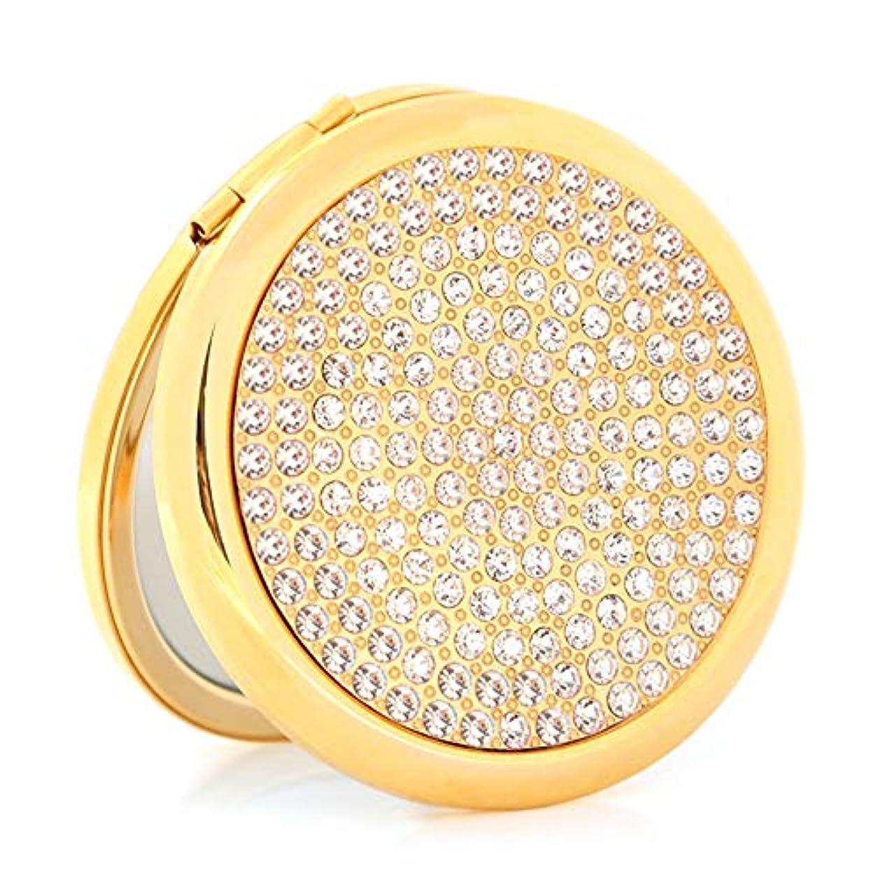 とは異なり無関心シンプルな流行の フルドリル折りたたみ化粧鏡両面ポータブルポータブルドレッシングレトロ鏡バレンタインの日ギフト小さな鏡 (色 : Gold)