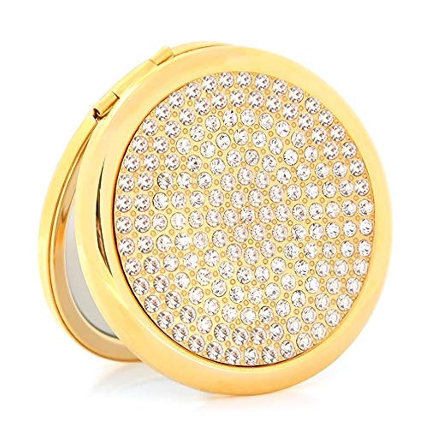 ラッドヤードキップリングタフ葉流行の フルドリル折りたたみ化粧鏡両面ポータブルポータブルドレッシングレトロ鏡バレンタインの日ギフト小さな鏡 (色 : Gold)