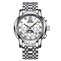 メンズ トゥールビヨン 自動巻き 機械式ステンレス腕時計メンズスポーツレザーミリタリー KINYUED オートマティックウォッチ (JX-010)