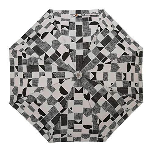 小川(Ogawa) ショートスライド晴雨兼用長傘 手開き 50cm korko コルコ ジオメトリック UV加工 遮熱遮光加工 はっ水 木の手元 シリコンの滑り止め付 81209