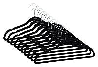 ollieroo-hangerノンスリップ超薄型ハンガーでUノッチ、ブラック、50パック