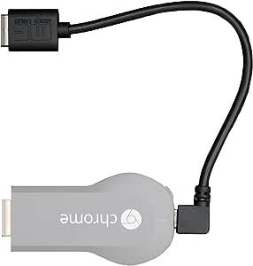 Synkq (シンク) Google Chromecast 用 直角 L字 マイクロ USB ケーブル 2本セット (90度+270度) クロームキャスト シンプルな配線 高品質 Micro ショート L型 20cm /AC 電源 アダプタ HDMI 不要/