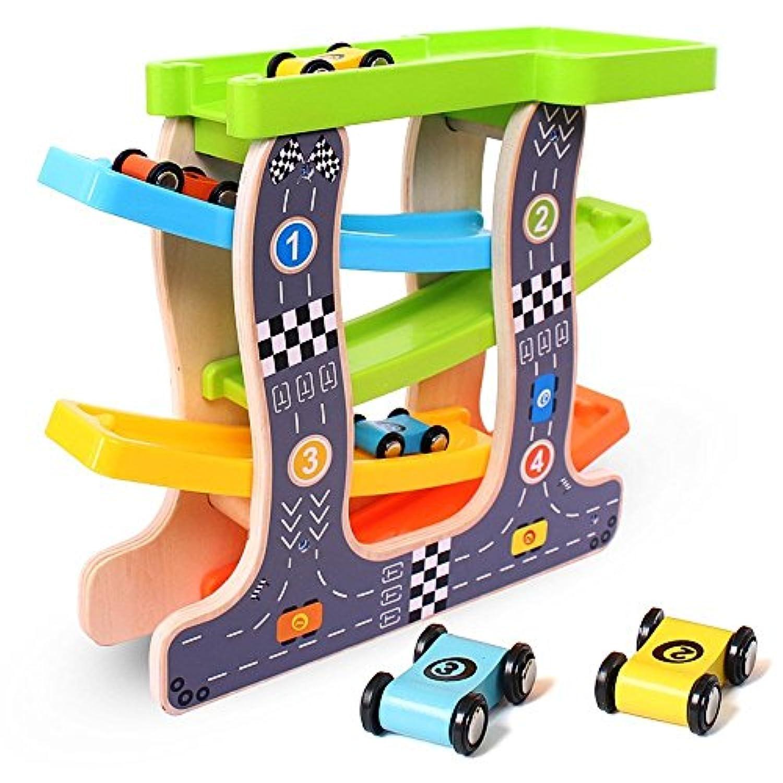 【改良版】くるくるスロープ 木製スロープ 滑空車 4台セット ミニコースター 4つ軌道 駐車場付き Bajoy 大人も子供も楽しめる知育玩具 ルーピング ビーズコースター スロープトイ