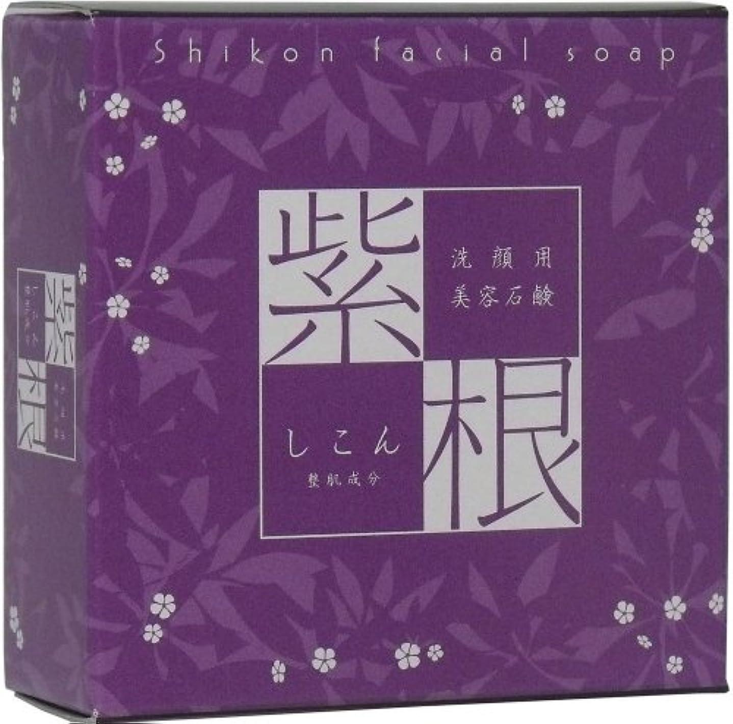 素敵なゴルフ喉が渇いた洗顔用 紫根石けん (泡立てネット付き) 100g ×3個セット