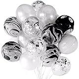 SUSUQI 40cm紙吹雪バルーン 複合パーティーバルーン 透明風船 キラキラ 結婚式 誕生日 二次会 パーティー 飾り付け 20個セット (ホワイトとブラック)