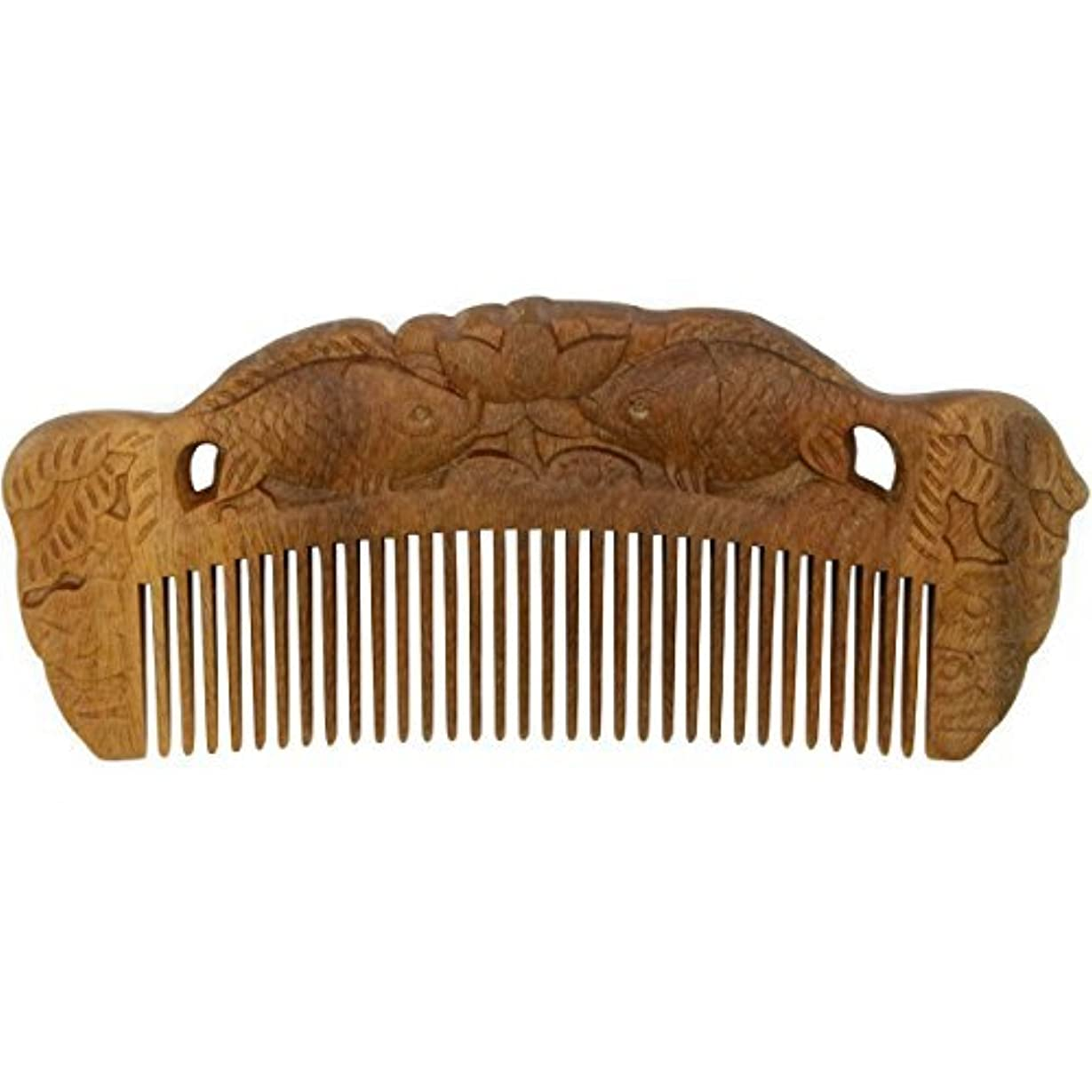 抑止する延ばすキャリアYOY Handmade Carved Natural Sandalwood Hair Comb - Anti-static No Snag Brush for Men's Mustache Beard Care Anti...