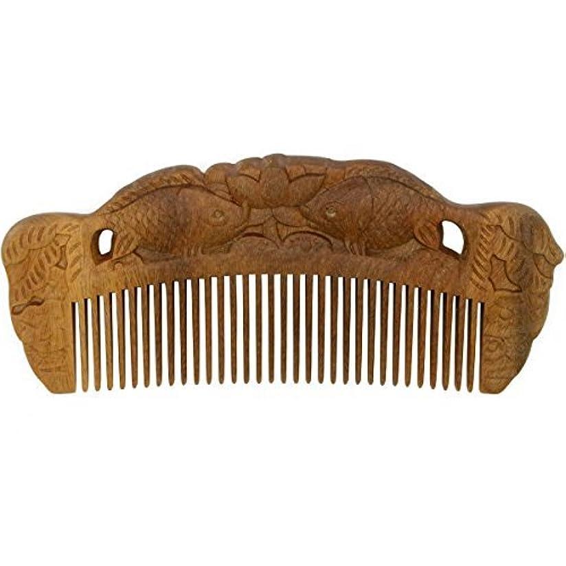 曲安西魚YOY Handmade Carved Natural Sandalwood Hair Comb - Anti-static No Snag Brush for Men's Mustache Beard Care Anti...