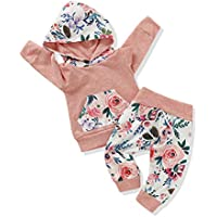 FUTERLY Toddler Baby Girl Clothes Long Sleeve Hoodie Sweatshirt Top and Floral Long Pants Outfit Sets (Pink-B, 18-24M)
