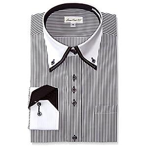 [ドレスコード101] 結婚式 ワイシャツ 形態安定 メンズ (襟高 デザイン) 披露宴 二次会 パーティー ドレスシャツ トレボットーニ フォーマル DC60 ネイビー 日本 L (日本サイズL相当)