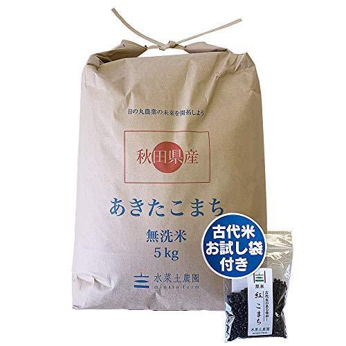 【精米】 秋田県産 農家直送 無洗米あきたこまち 子供に食べさせたいお米 5kg 平成29年産 古代米付き