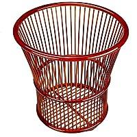 ランドリーバスケット 絶妙な創造的な中国のスタイルのストレージ竹の純粋な色 ZHANGQIANG (色 : Red, サイズ さいず : 36 * 35cm)