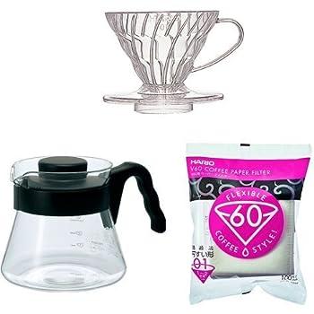 【セット買い】HARIO (ハリオ) V60  透過 コーヒードリッパー クリア & コーヒーサーバー & ペーパーフィルター1~2杯用 セット